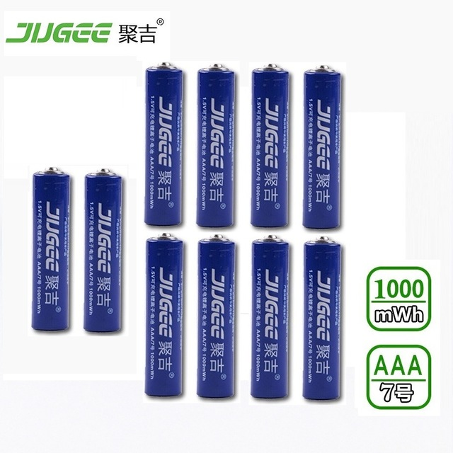 10 PCS 10440 JUGEE 1.5 v AAA lifepo4 lithium ionen batteries AAA 1000mWh rechargeable li-ion Li-polymère Li-Po batterie appliquer Jouets