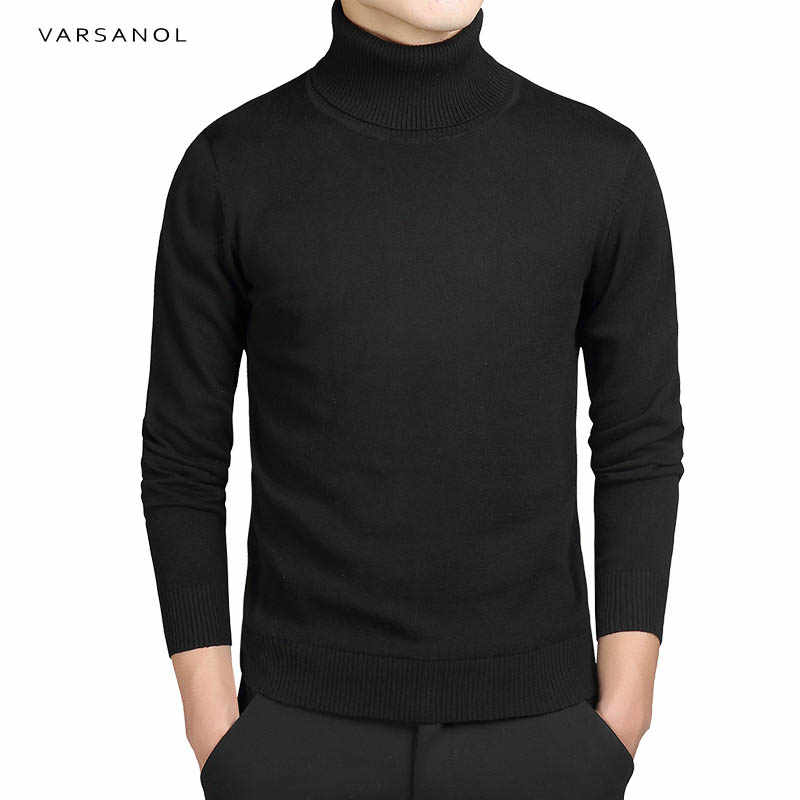 Varsanol Brand New Casual Turtleneck Sweater Men Pullovers Autumn Fashion Style Sweater Solid Slim Fit Knitwear Full Sleeve Coat