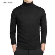 Brand New Casual sweter z golfem mężczyzn swetry jesień moda sweter w stylu stałe Slim Fit swetry z pełnym rękawem płaszcz