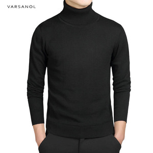 Image 1 - Varsanol Casual Turtleneck Sweater Men Pullovers Autumn Fashion Style Sweater Solid Slim Fit Knitted sweaters Full Sleeve Coats