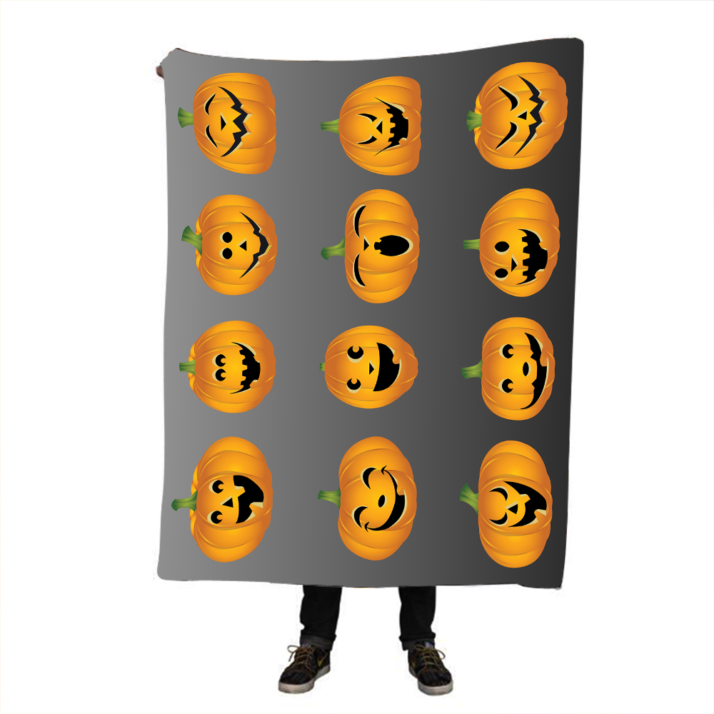 Halloween Pumpkin Printing Throw Blanket Hipster Watercolor Sherpa for Couch Dreamcatcher Feathers Printed Soft