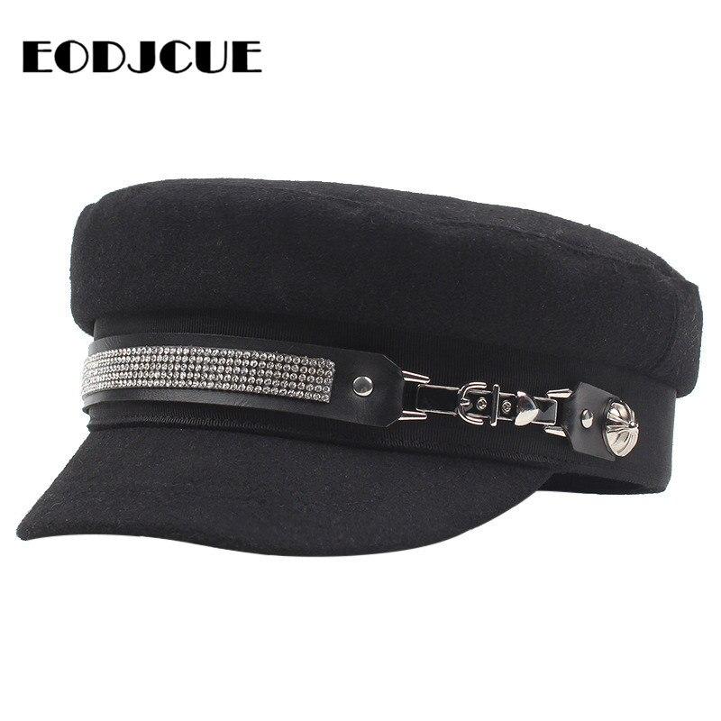 Trendy PU Leather Belt Military Hat Spring Sailor Hat For Women Black Flat Top Drill Captain Cap Baker Boy Hat Pilot Hat