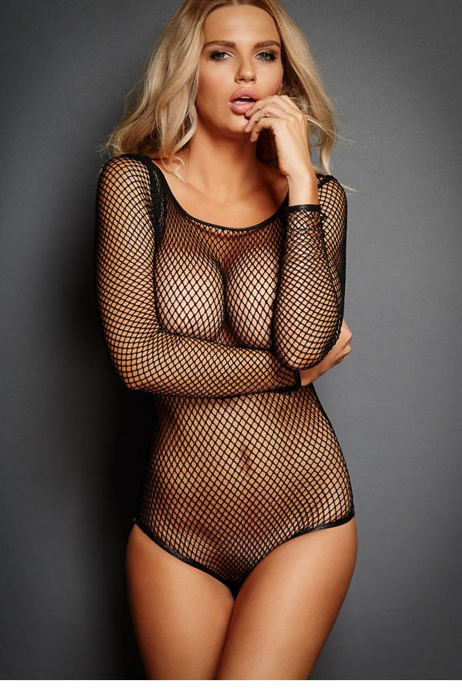 4f8f5ddc9 Exotic Apparel Hot Online Sale Lingerie Trendy Adult Fishnet Teddy Women  Hollow Out Long Sleeve Fishnet Cut out Teddy 279