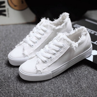 Women Canvas Shoes Plimsolls Brand Balck White Casual Shoes Thick Soled Platform Flat Shoes Espadrilles Mujer