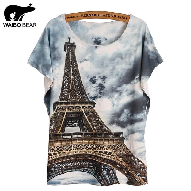 2def7165918 Fashion Women 2017 T Shirt Short Sleeve Eiffel Tower Print tshirts Women  Tops T- Shirt Casual Patchwork Top Shirt Women