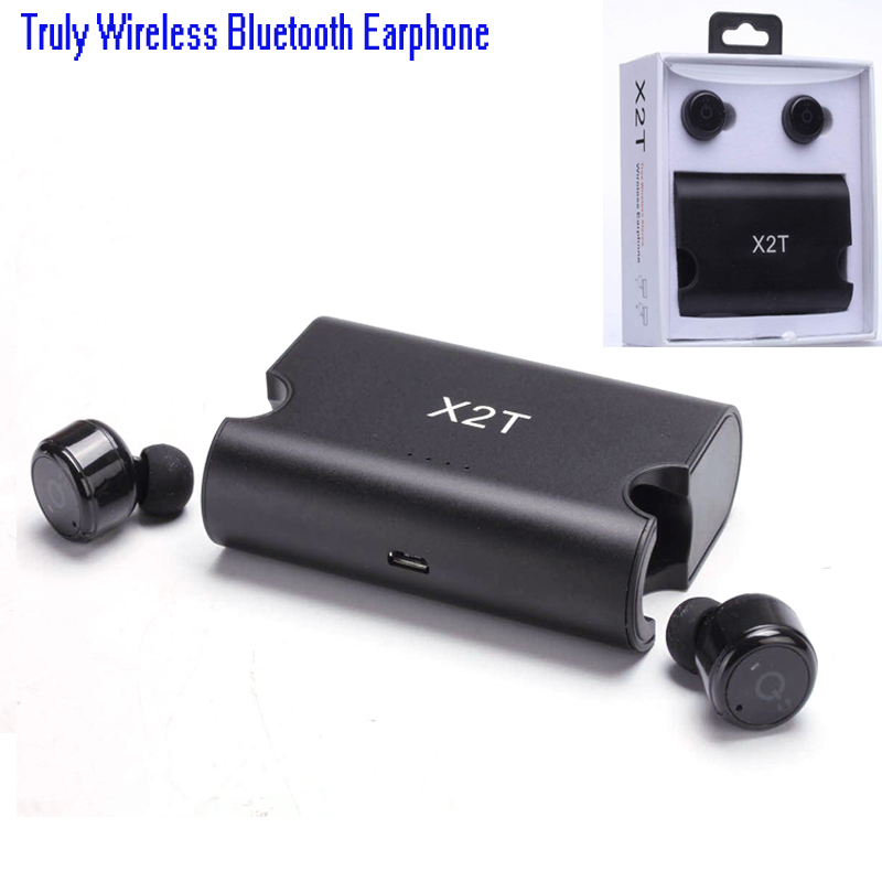 Original true wireless earbuds TWS X2T mini headphone bluetooth earphone with charger box for iphone and andriods pk Q29 X1T bluetooth earphone earbuds with car charger 2 in 1 driver mini wireless bluetooth headset earphone for iphone android smartphone