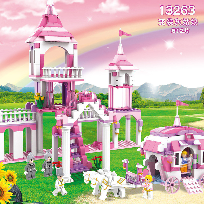 512pcs Girl In Disguise Castle Princess Girl Friends Cogo Building Block Brick Toy 13263 damsel in disguise