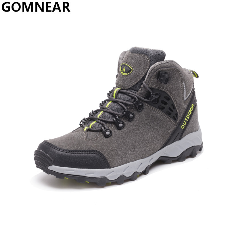 GOMNEAR Winter Men's Hiking Boots Plus cotton Outdoor Walking Trekking Climbing Athletic Shoes Mountain Hiking Hunting Chaussure yin qi shi man winter outdoor shoes hiking camping trip high top hiking boots cow leather durable female plush warm outdoor boot