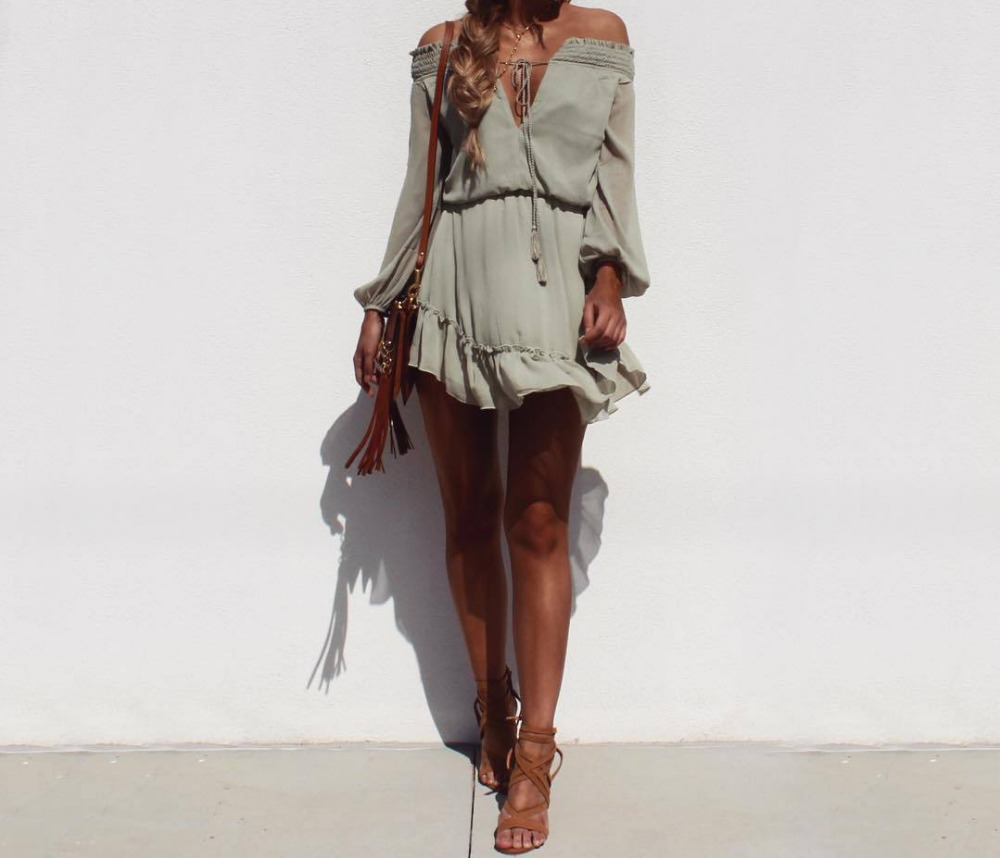 HTB15Xp.PFXXXXXAapXXq6xXFXXXI - FREE SHIPPING Long Sleeve sexy off shoulder V enck Ties Dress JKP289
