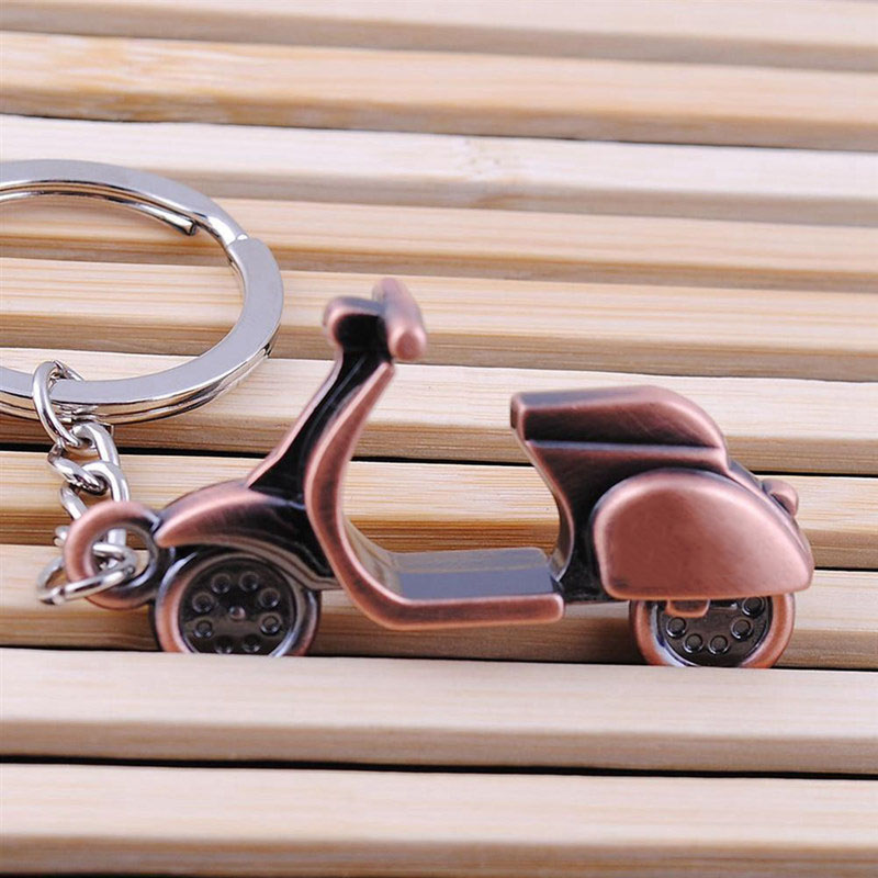 Cindiry Antique Bronze Plated Vespa Motorbike Key Chain Personality Motorcycle