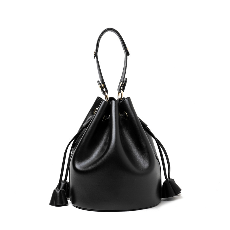 Summer Genuine Leather Bucket Bags For Women Soft Leather Luxury Handbags Designer Crossbody Shoulder Bags