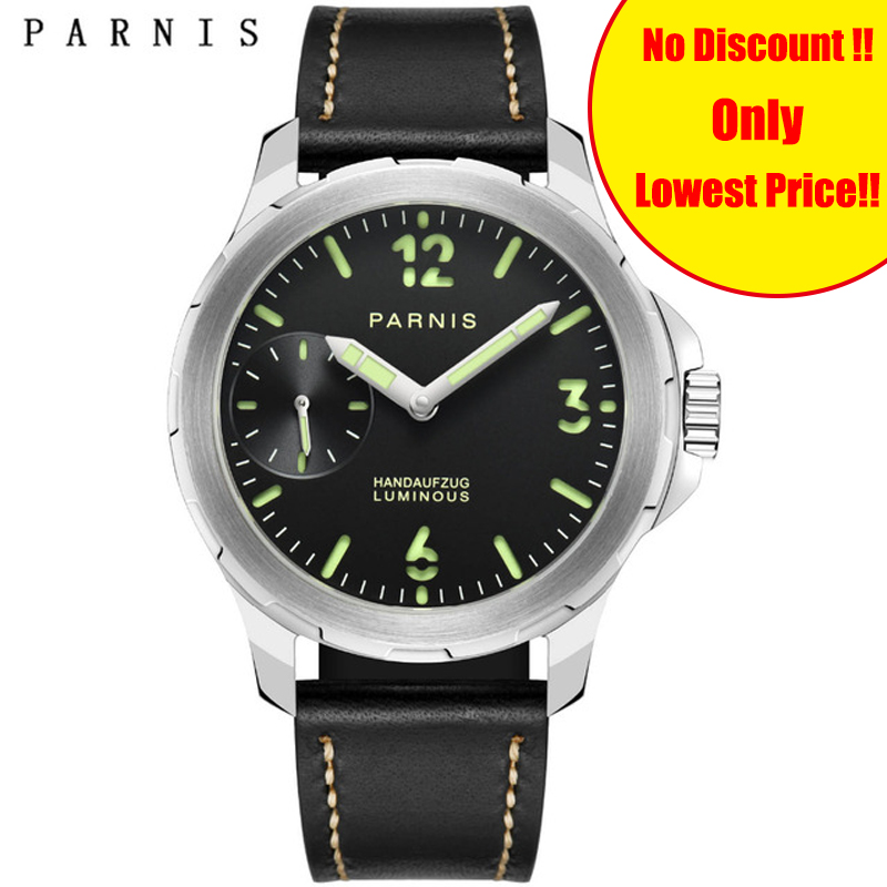 40mm Parnis Casual Men Watch Hand-Winding Black Dial Stainless Steel Case Leather Band Mechanical Hand Wind Mens Watches Clock40mm Parnis Casual Men Watch Hand-Winding Black Dial Stainless Steel Case Leather Band Mechanical Hand Wind Mens Watches Clock