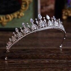Magnificent Rhinestone Zircon crown Tiaras Fashion Noble azorite Tiara for Bride princess hair clips Wedding Hair accessories