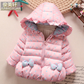 Female child baby  wadded jacket winter thickening children's clothing child winter cotton-padded jacket with a hood outerwear
