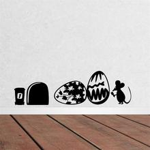 Rats Mouse Hole Happy Easter party decoration home decal wall stickers/ adesivo de parede kitchen decor stickers