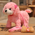 30cm lovely pink dog with bowtie on the head, Electric dog toy with leash,children's gift w8900