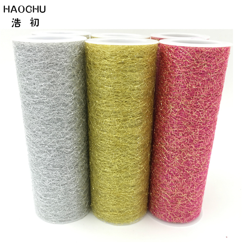HAOCHU 6 5yards Patchwork Tulle Rolls Tissue Gauze Cloth Costumes Mesh Fabric Gift Wrap Wedding Chair Sash Christmas Decor