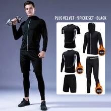 BINTUOSHI 5Pcs Fitness Sport Suit Mens Sports Thickening Fleece Set Wear Keep Warm Long Sleeve Exercise Training