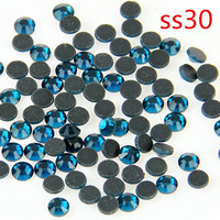 Rhinestones SS30 40 Gross Peacock Blue Machine Cut Hot Fix Stones For Iron Transfer Designs Garment