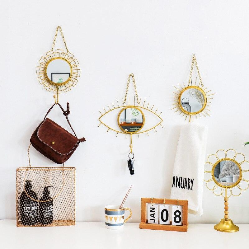 Nordic Geometric Mirror Golden Wall Hanging Mirrors Hooks Bathroom Lady Makeup Mirror Eye Flower Vintage Home Decor Accessories Aliexpress