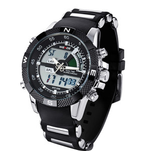 Image 5 - 2019 WEIDE Watches Mens Casual Watch Multifunction LED Watches Dual Time Zone With Alarm Sports Waterproof Quartz Wristwatches