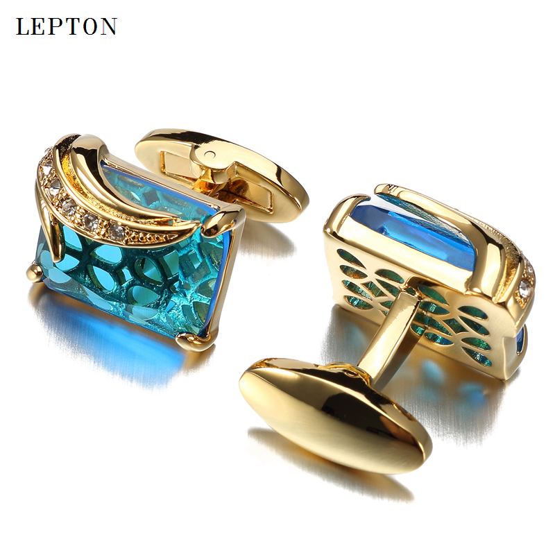 Low-key Luxury Blue Glass Cufflinks for Mens Lepton Brand High Quality Square Crystal Cufflinks Shirt Cuff Links Relojes Gemelos low key luxury tiger eye stone cufflinks for mens gold color plated lepton high quality brand round stone cuff links best gift