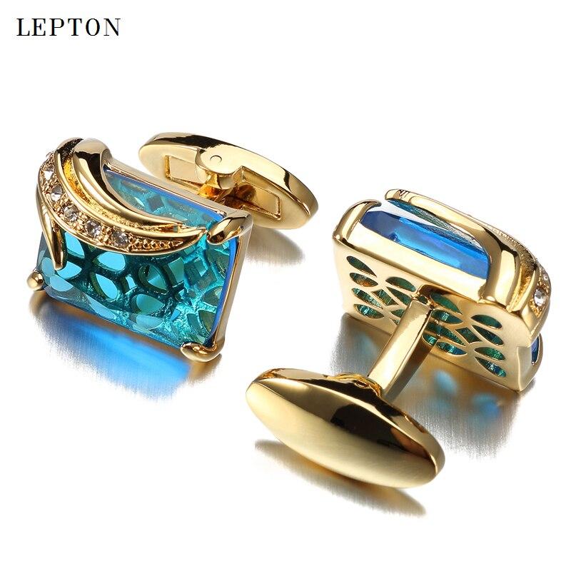 Low-key Luxus Blau Glas Manschettenknöpfe für Herren Lepton Marke Qualitäts-platz Kristall Manschettenknöpfe Hemd Manschettenknöpfe Uhren Gemelos
