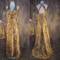 Специальные Полые Атласная Зерна Леопарда Сексуальная Элегантный Линия V Шеи Мать Невесты Платье