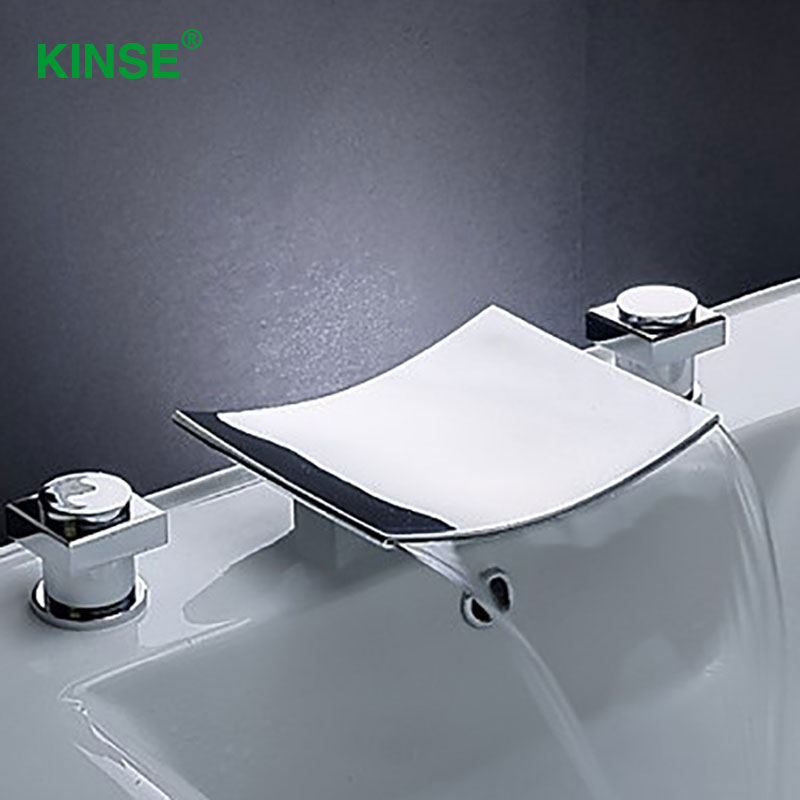 KINSE Contemporary Chrome Finish Dual Holder Dual Hole Sink Faucet Cold and Hot Basin Faucet for Bathroom hot sale chrome finish with diamond toilet paper holder lavatory wc roll tissue porte papier bathroom basin accessories
