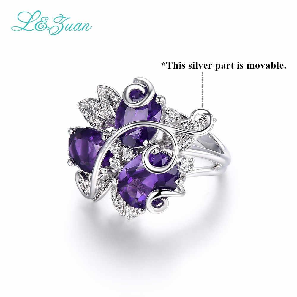 L & Цзуань комплект из 3 предметов натуральный бразильский аметист кольцо в 925 пробы серебро кольцо с крапановой закрепкой фиолетовый драгоценный камень цветок Fine Jewelry