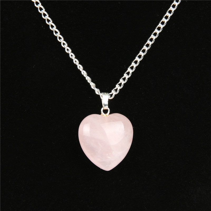 Natural Rose Quartz Heart Necklace Valentine's Day Women Fashion Romantic Jewelry Chakra Reiki Crystal Healing Stone Pendant 6pcs natural fluorite quartz crystal wand point healing