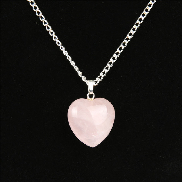 Natural rose quartz heart necklace valentines day women fashion natural rose quartz heart necklace valentines day women fashion romantic jewelry chakra reiki crystal healing stone aloadofball Gallery