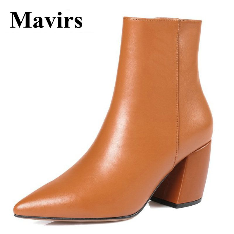 Mavirs 2018 Winter 8CM Chunky Genuine Leather Boots High Heels Ankle Boots For Women Black Brow Apricot Booties US Size 4-10 mavirs brand women ankle boots 2018 pointed toe matt 4 75 inches chunky high heels black gray gold white shoes us size 5 15