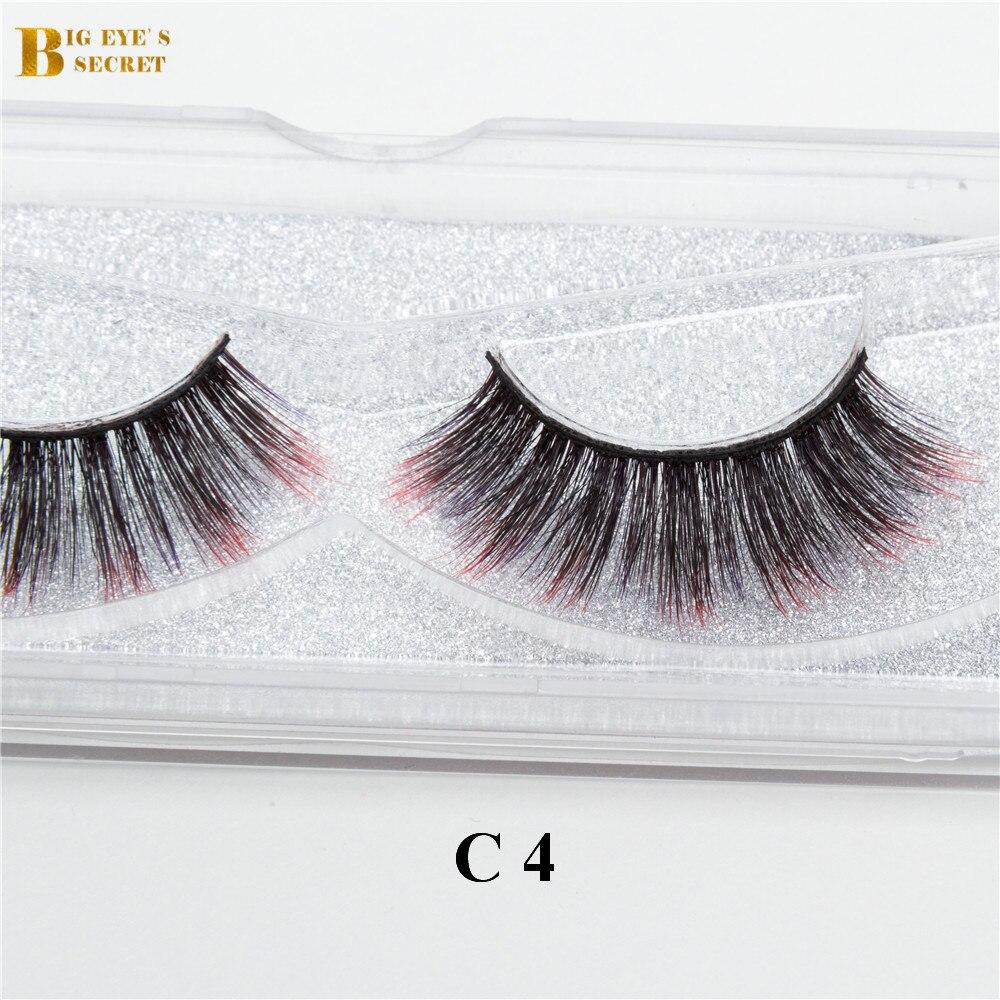 big eye segredo colorido 3d tira de cor mink lashes cilios posticos cilios posticos cruzam grosso