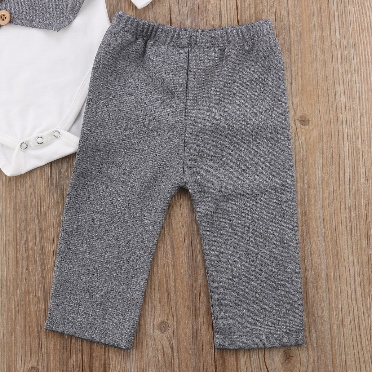 Newborn Baby Boys Gentleman Bow Tie Tops Romper+Pants Formal Outfits Clothes Set