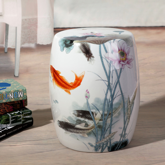 Fish Pattern Jingdezhen Porcelain Garden Stool Ceramic Stool For Dressing  Table Drum Chinese Ceramic Garden Stools