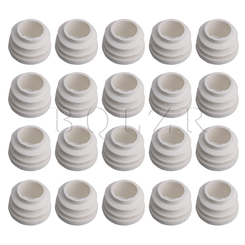 20x BQLZR 19MM 25MM 32MM Inner Dia White Round Tube Plastic Hole Plug End Caps Cover Tube Table Glide Insert Finishing Plug