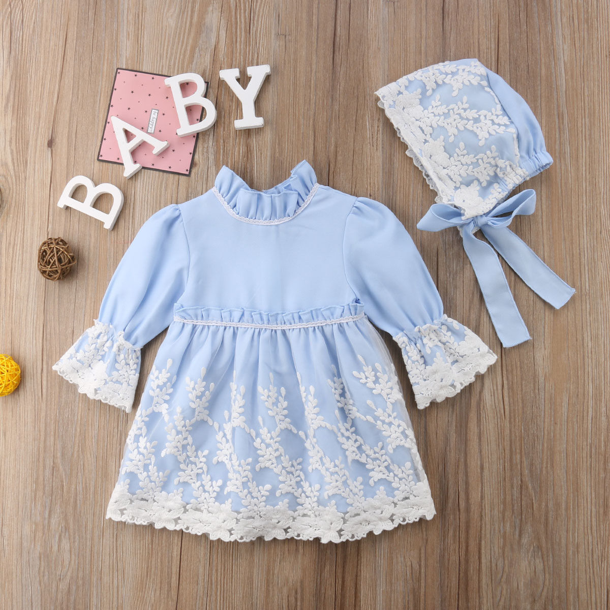 Emmababy Newest Fashion Toddler Baby Girl Clothes Solid Color Lace Flower Dress Princess Party Pageant Dress Hat Outfits Set