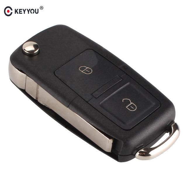 KEYYOU 2 Botões Virar Folding Car Key FOB Caso Shell Remoto Para Vw VOLKSWAGEN MK4 Seat Altea Alhambra Ibiza