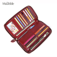 Muurdde Fashion Women Handbags Long Zipper Genuine Leather Ladies Clutch Bags With Premium Cell Phone Holder Wallet Card Holder