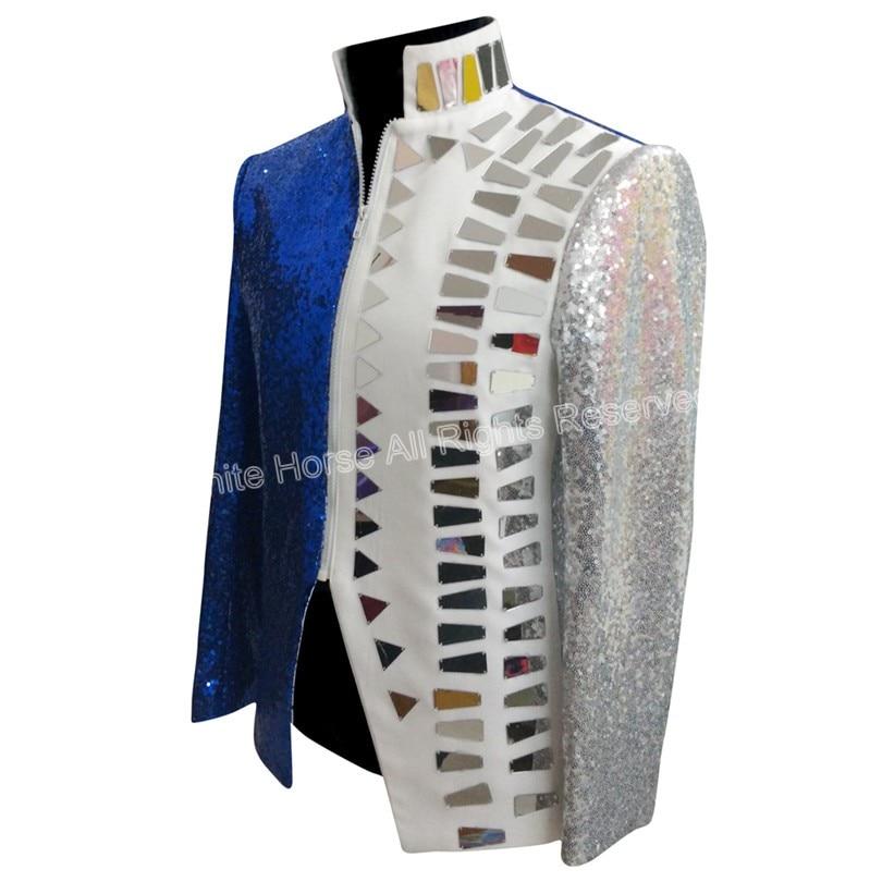 Heren Blazer Slim Fit Jacket Deluxe Heren Sequin Jacket Wit en Blauw - Herenkleding - Foto 3