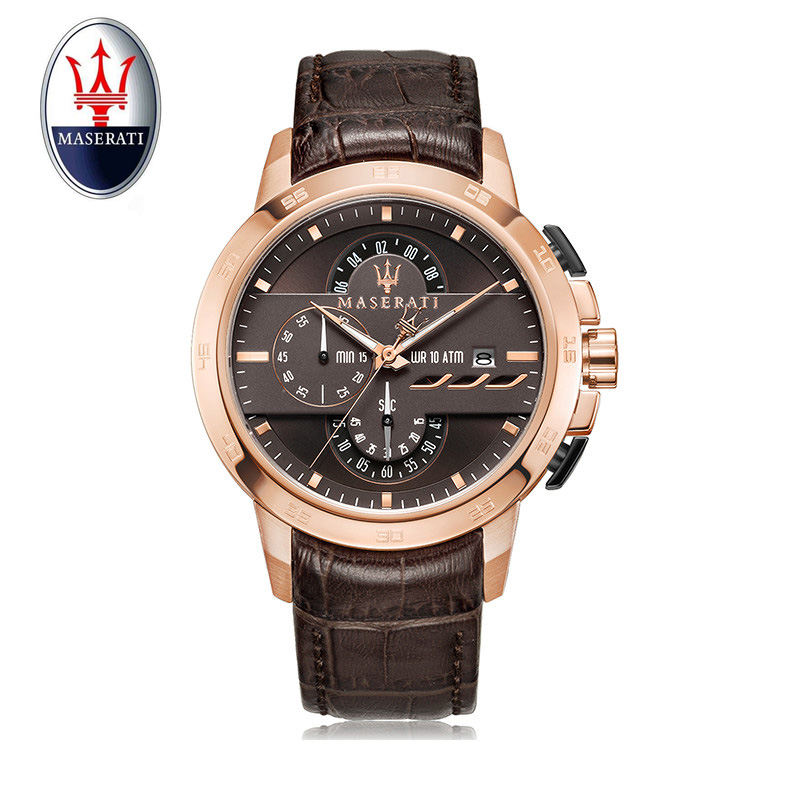 Maserati brand multi-function men's quartz watch leather automatic tourbillon sports watch fashion casual waterproof men's watch multi function casual men quartz sports watch