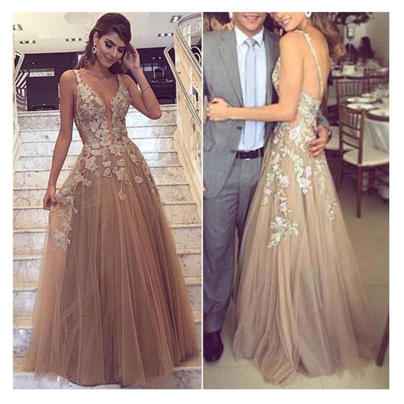Methodical Sod Wedding Dress 2019 Champagne Spaghetti Straps With Flowers Appliques Sexy Bride Dress Backless Vestido De Novia Playa Gowns