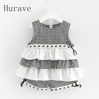 Hurave 2017 New Girls Summer Clothing Sets Kids Clothes Cotton Plaid Shirts Plaid S For Girl
