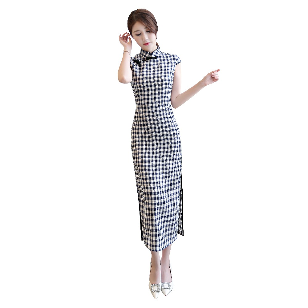 Shanghai Story 2019 New Chinese Traditional Dress Long Plaid Qipao Dress Blend Linen Short Sleeve Lattice Cheongsam For Women