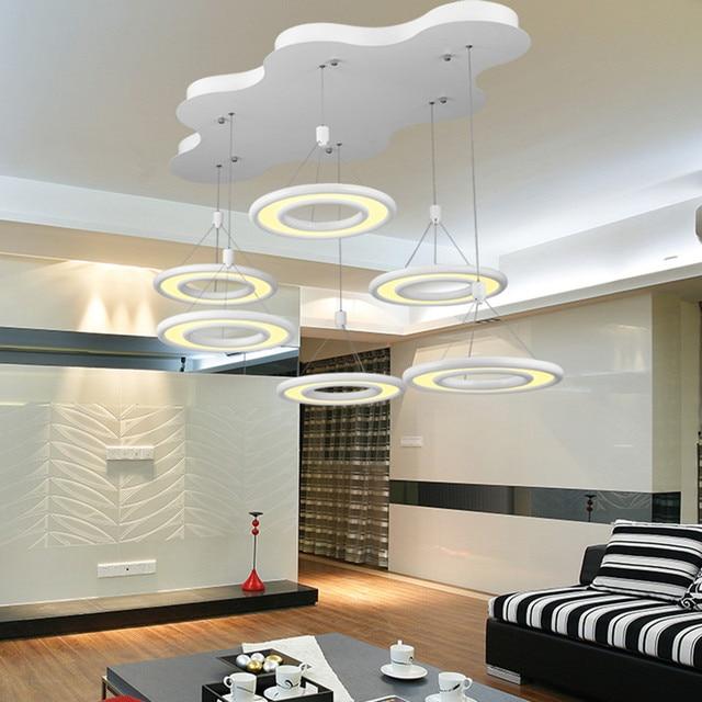 US $85.0 |Anello a forma di Lampada Lampadario moderno soggiorno camera da  letto lampada lampada di illuminazione lampada a sospensione luce bianca ...