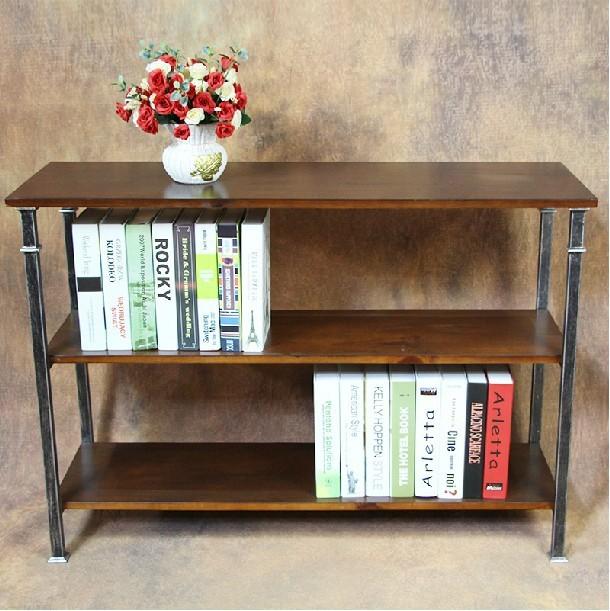 LOFT Vintage Industrial Style Wrought Iron Wood Bookcase Shelf Specials Living Room TV Cabinet Pine Bookshelf
