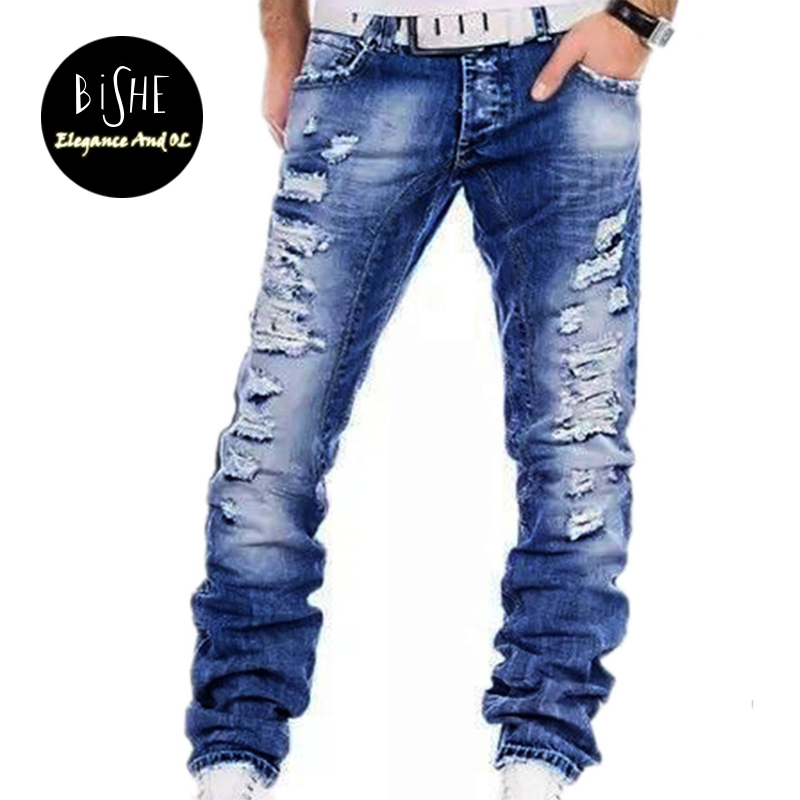Men's Fashion Casual Blue Ripped Jean Washed Zip Denim Pants Jeans For Men Famous Brand Men Jogger Jeans Full Length Trousers famous brand trousers men blue slim denim pants casual big size biker jeans designer classical fashion jean homme