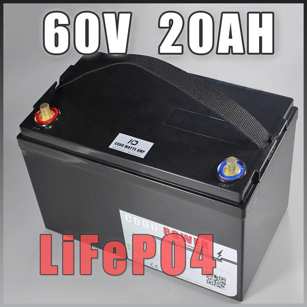 60 v 20AH LiFePO4 Profonde cyclique décharge Batterie 60 v Au Lithium fer phosphate Étanche IP68