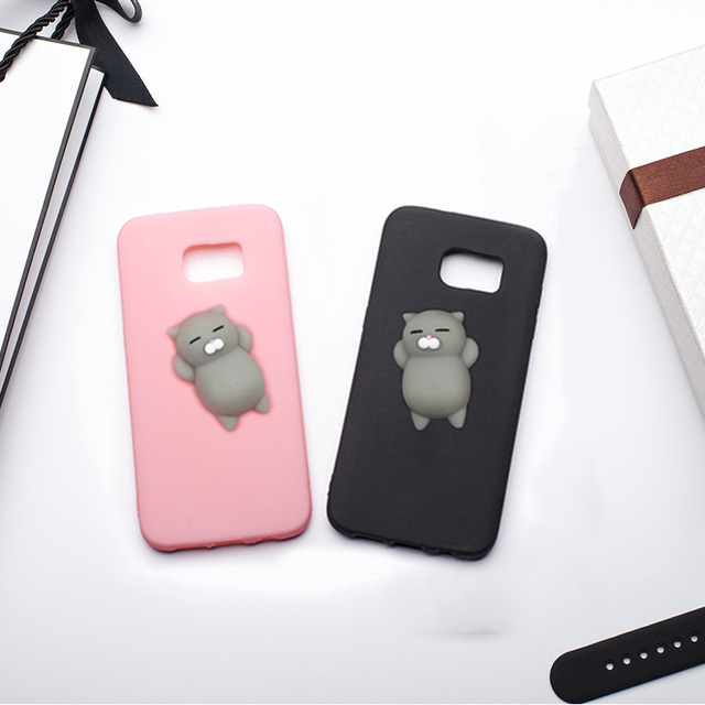 best service bf30d aac02 US $4.98 |MRGO Case for Samsung Galaxy S7 Edge Case S7 Cover Silicone Cute  Clumsy Cat Squishy for Coque Samsung Galaxy S7 Edge Case-in Fitted Cases ...